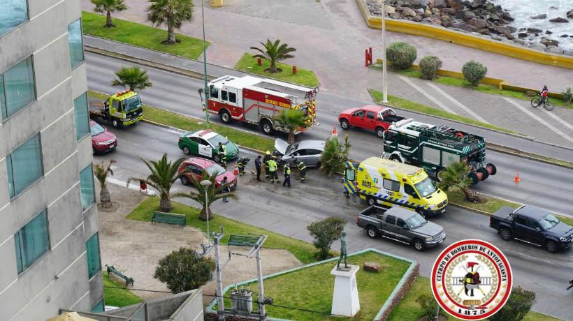 Conductor impacto su vehículo contra una palmera en Antofagasta