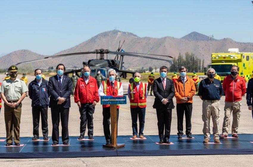 """Presidente Piñera lanza Plan Nacional para prevenir y combatir incendios forestales 2020-2021: """"Nos hemos preparado a conciencia y con responsabilidad"""""""