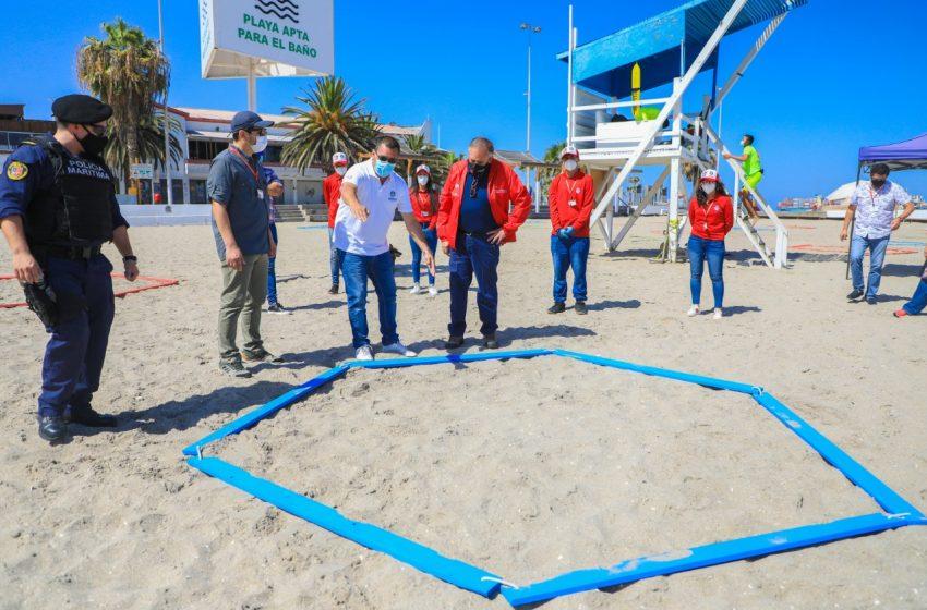 """Municipalidad de Antofagasta instaló """"separadores"""" en el Balneario"""