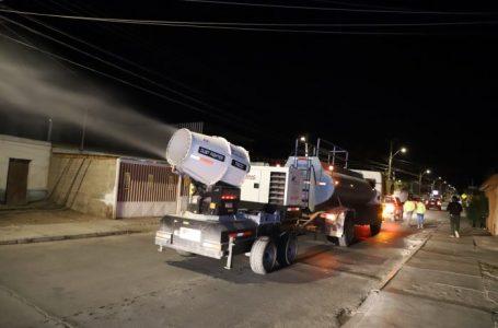 Municipio de Calama retoma las sanitizaciones masivas con cañón nebulizador